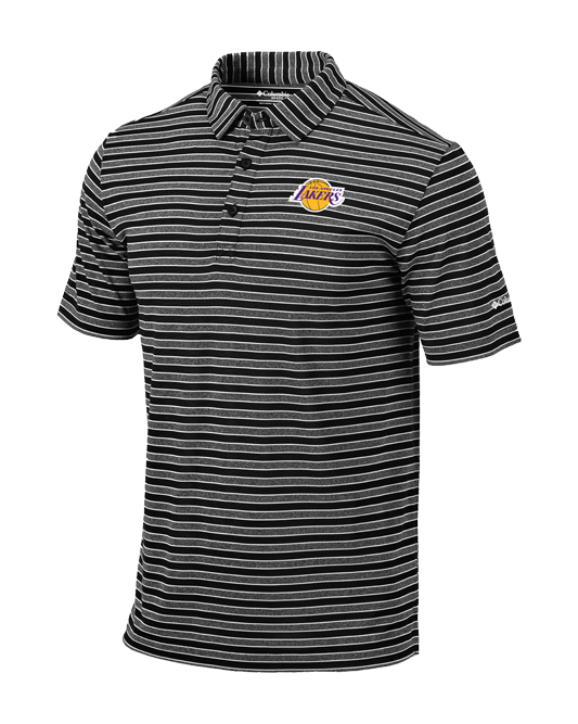 Los Angeles Lakers Members Striped Golf Polo - Black