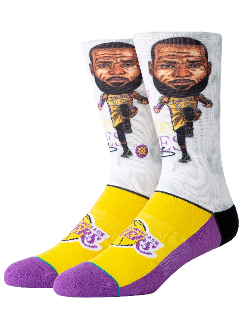 LAKERS LEBRON BIG HEAD SOCKS