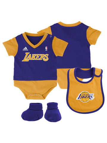 Los Angeles Lakers Newborn Lil Jersey Creeper Bib and Bootie Set