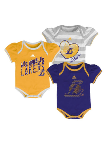 Los Angeles Lakers Newborn Girls 3 Point Play 3-Piece Bodysuit Set