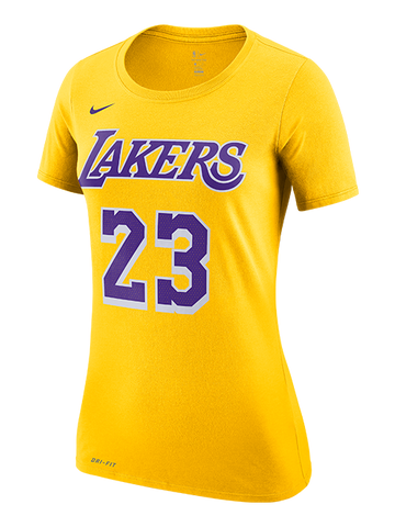 Los Angeles Lakers Women's LeBron James Script Player T-Shirt - Purple