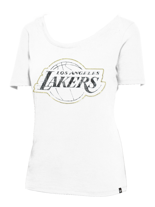 Los Angeles Lakers Women's Lux Sequins Runback Scoop  T-Shirt