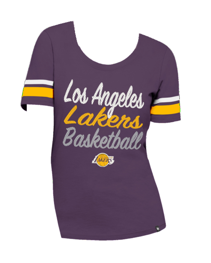 new style f0dd6 61e21 Los Angeles Lakers Women's Ultra Sparkle Halfback Scoop Short Sleeve
