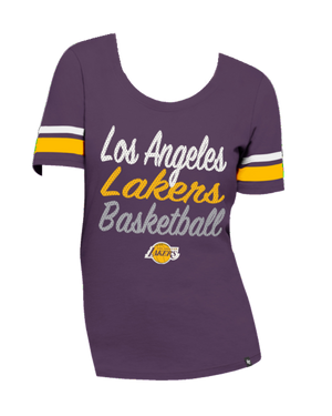 Los Angeles Lakers Women's Ultra Sparkle Halfback Scoop Short Sleeve