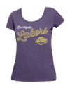 Los Angeles Lakers Women's Faded Spandex Criss Cross T-Shirt