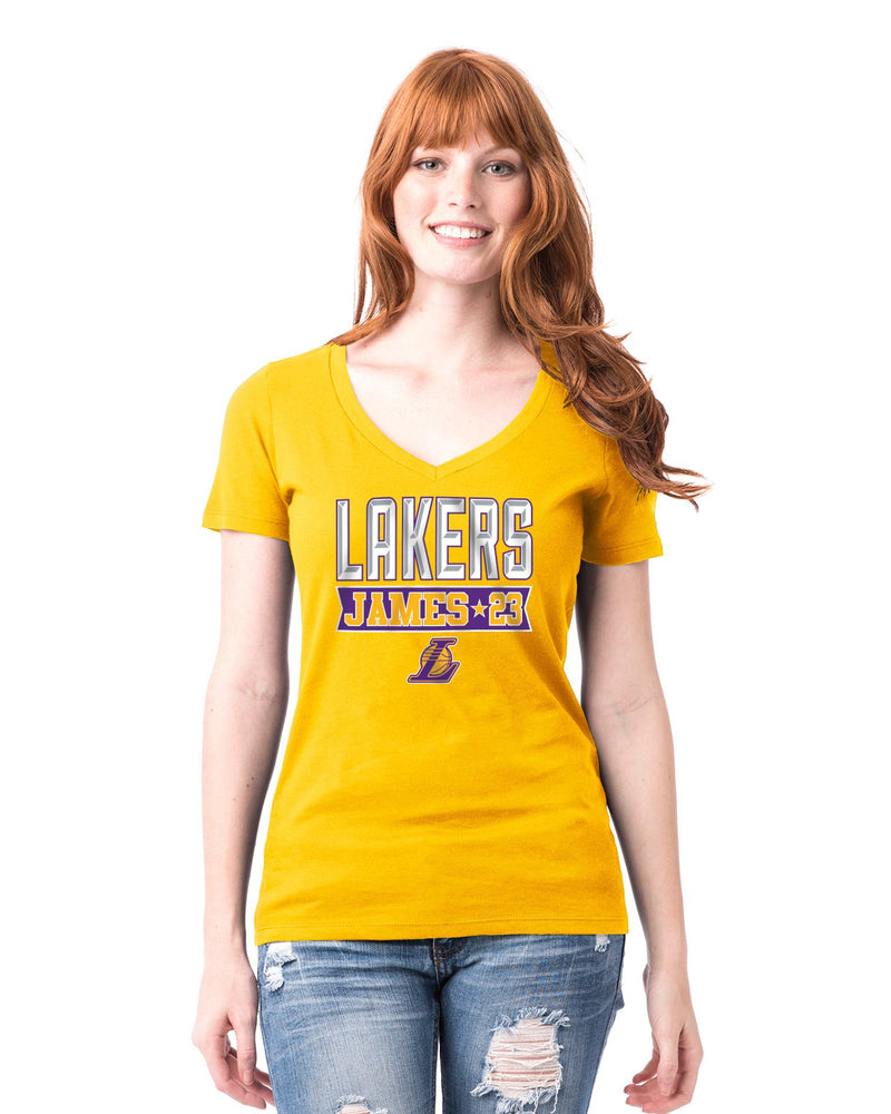 Los Angeles Lakers Women's LeBron James Banner T-Shirt - Gold