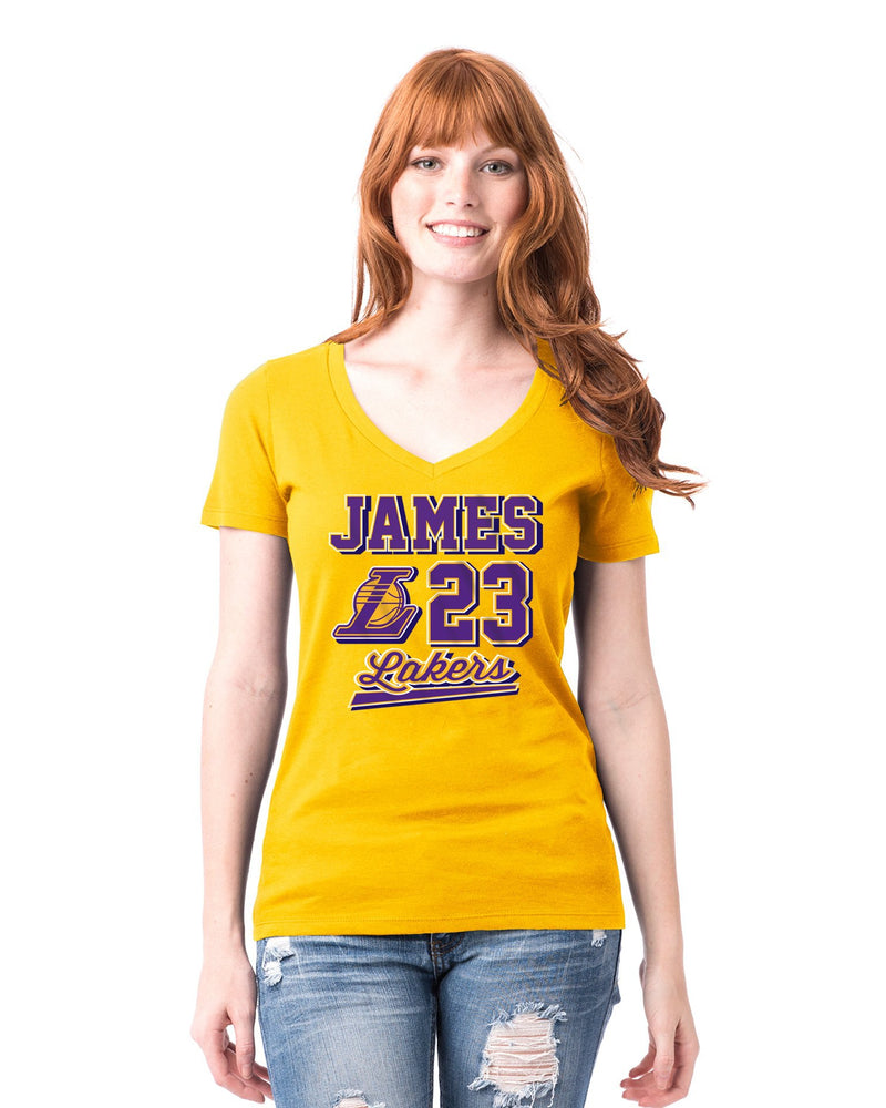 Los Angeles Lakers Women's LeBron James Ball Script Logo T-Shirt - Gold