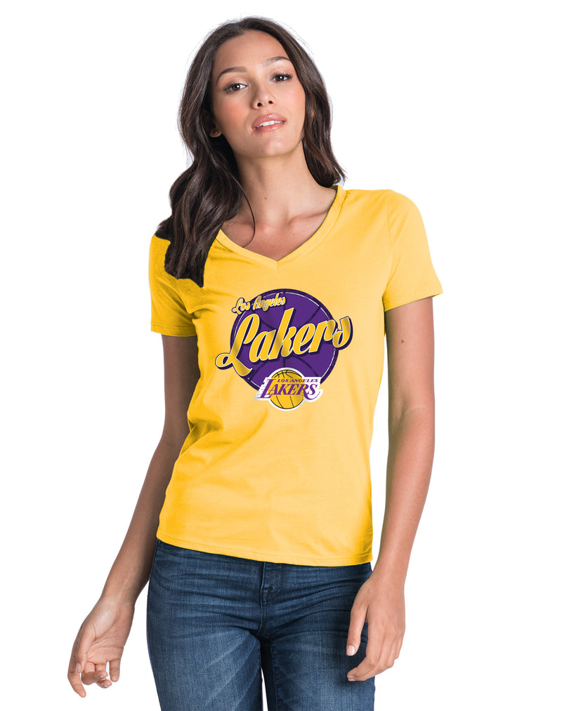 Los Angeles Lakers Women's LeBron James Script Player T-Shirt - Gold