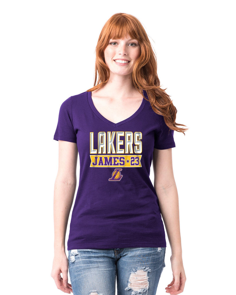 Los Angeles Lakers Women's LeBron James Banner T-Shirt - Purple