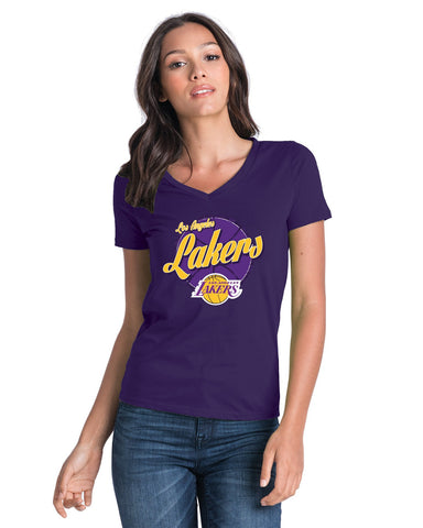 Los Angeles Lakers Women's LeBron James Ball Script T-Shirt - Purple