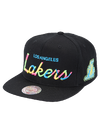 Los Angeles Lakers 9FIFTY Classic Curve Script Snapback Cap - Black