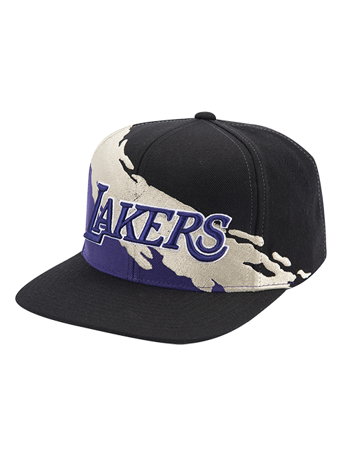 Los Angeles Lakers Gold Paint Snapback Cap - Black
