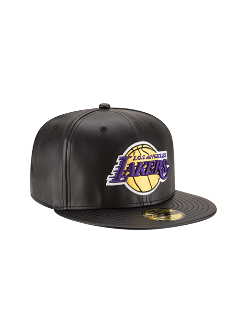 Los Angeles Lakers 59FIFTY Black Leather Team Fitted Cap