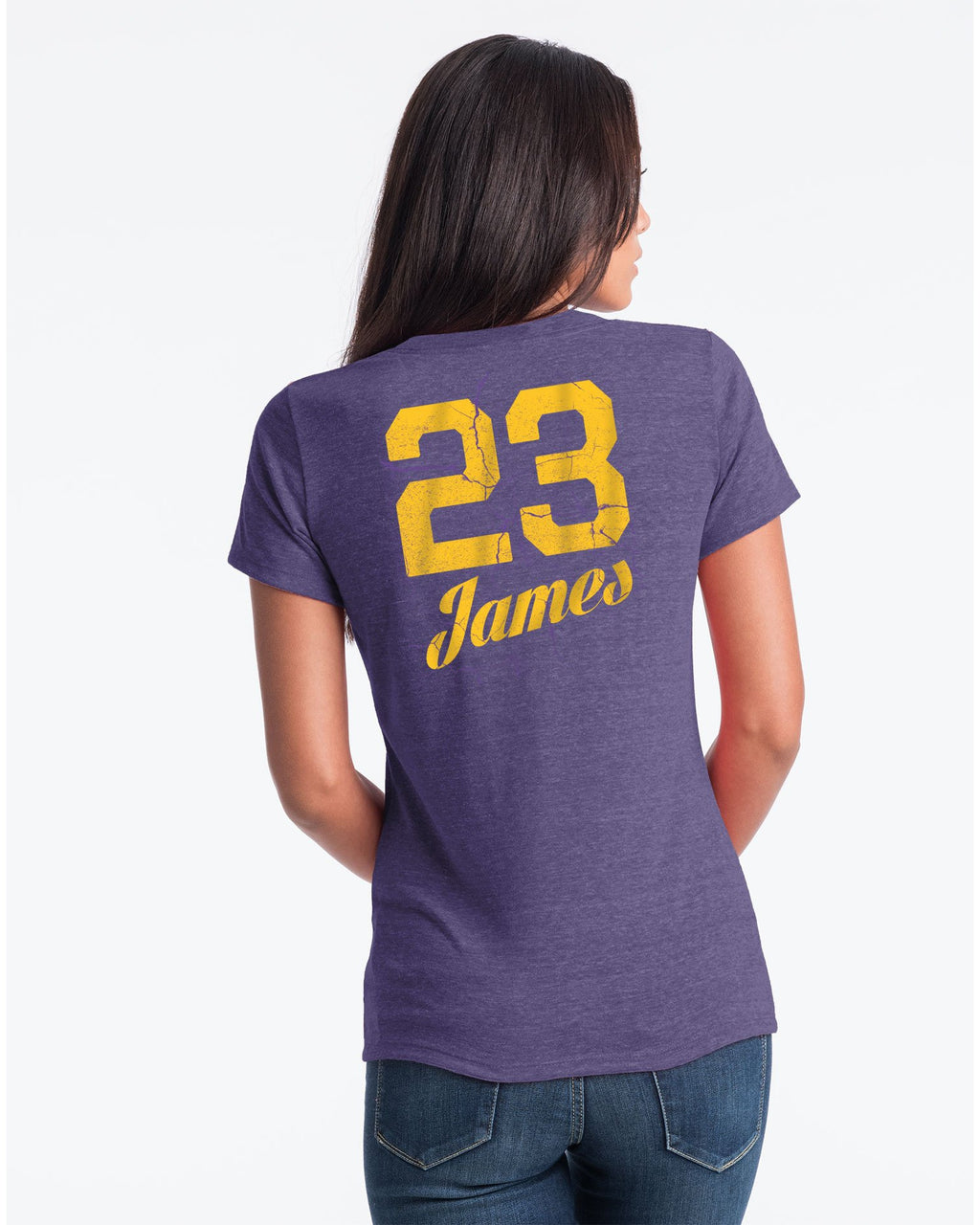 Primary Logo Cracked Womens LeBron James Los Angeles Lakers Tee