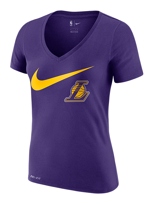 Los Angeles Lakers Women's Swoosh V-Neck - Purple