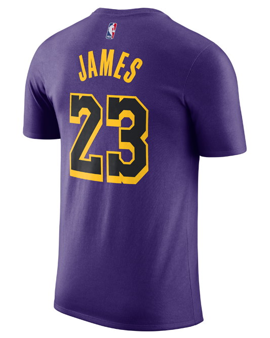 31c98a7a5 Los Angeles Lakers City Edition LeBron James Player T-Shirt – Lakers ...