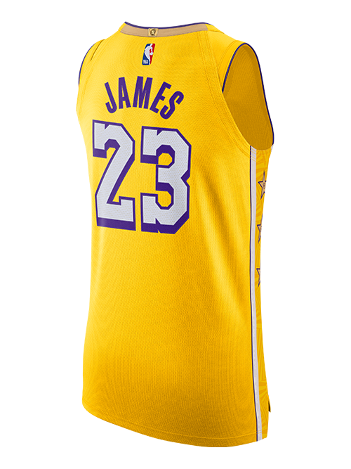 Los Angeles Lakers LeBron James City Edition Authentic Jersey - Gold