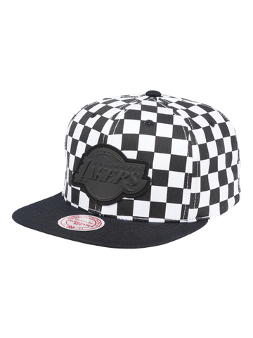 Los Angeles Lakers Checkered Visor Wordmark Snapback Cap