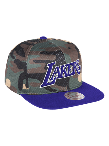 Los Angeles Lakers Checkered Front Trucker Adjustable Cap