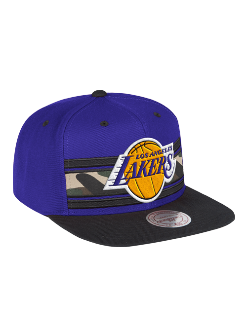 Los Angeles Lakers Camo Stripe Covert Snapback Cap