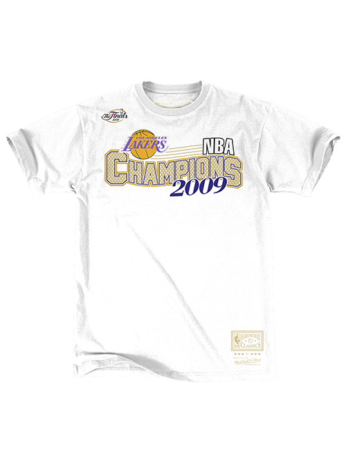 Los Angeles Lakers Hardwood Classics 2009 NBA Champions Wave T-Shirt - White