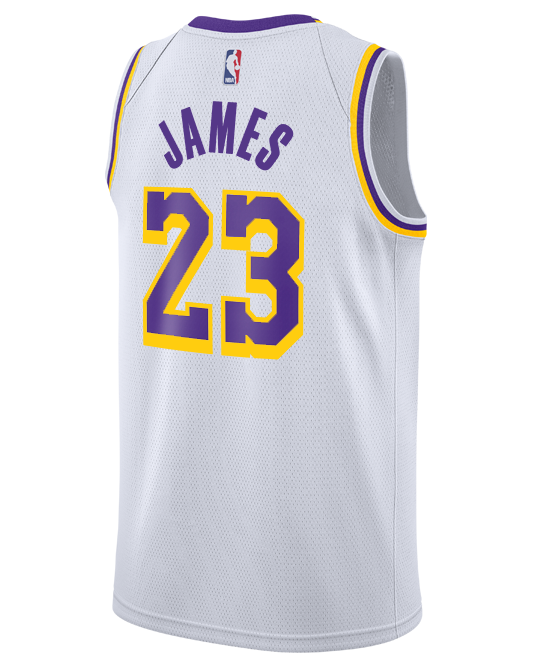a7ac95360 Los Angeles Lakers LeBron James 2018-19 Association Edition Swingman Jersey