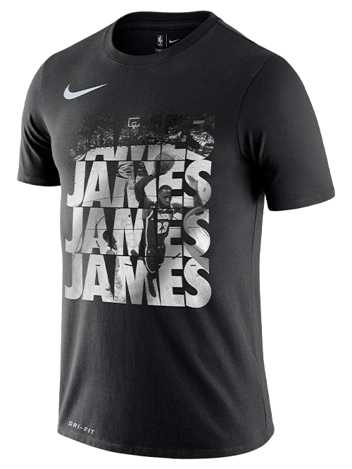 Los Angeles Lakers Dri-FIT James Repeat Short Sleeve Tee - Black/White