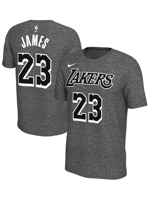 Los Angeles Lakers LeBron James Marled Player Name & Number T-Shirt