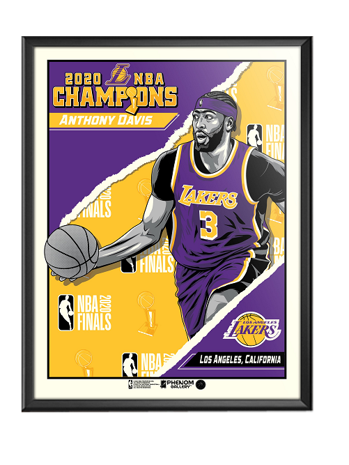 "2020 NBA Champions 18"" x 24"" Anthony Davis Los Angeles Lakers Framed Serigraph"