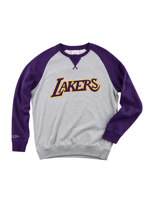 Los Angeles Lakers Turf Crew Neck Fleece - Grey/Purple