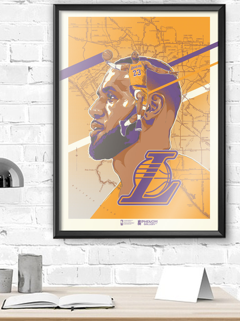 Los Angeles Lakers Rob Zilla LeBron Framed Serigraph