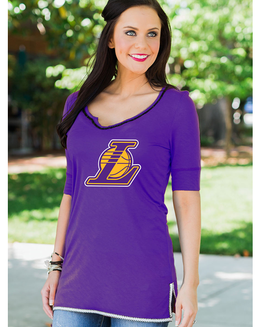 On With The Show Womens Los Angeles Lakers Tee