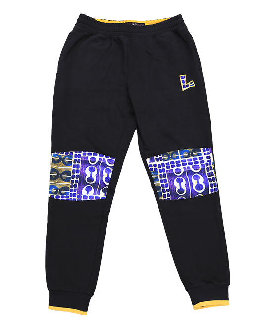 Los Angeles Lakers 90's Kente Knee Patch Pant - Black