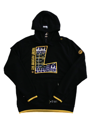 Los Angeles Lakers 90's Kente Letter Hoody - Black