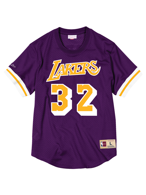 Los Angeles Lakers Magic Johnson Mesh Crew Neck Jersey - Purple