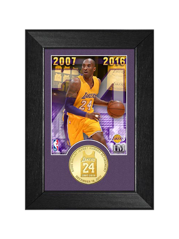 Kobe Bryant Jersey Number 24 Retirement Coin Frame