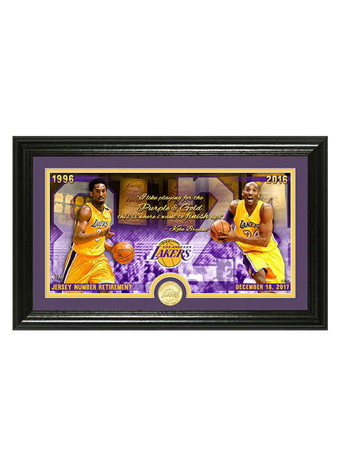 "Kobe Bryant Jersey Number Retirement ""Quote"" Pano Bronze Coin Photo Mint"