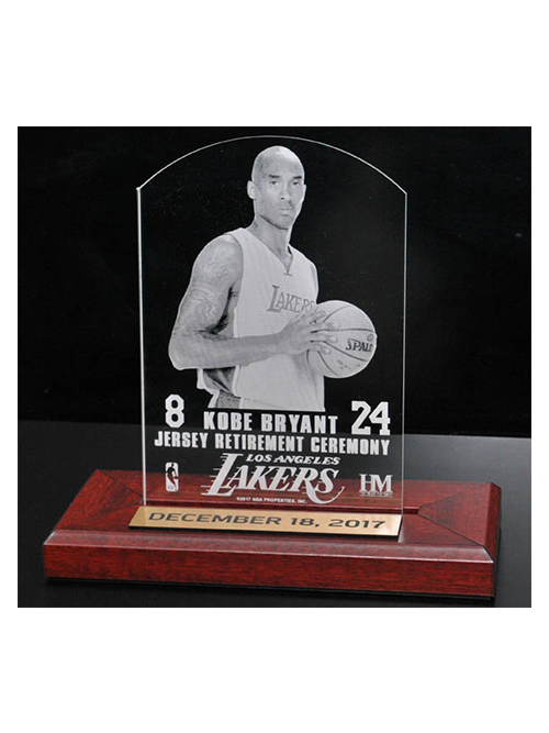 82e806828dcb Kobe Bryant Jersey Number Retirement 3x5 Etched Acrylic Wood Base – Lakers  Store