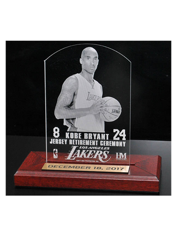 Kobe Bryant Jersey Number Retirement 3x5 Etched Acrylic Wood Base