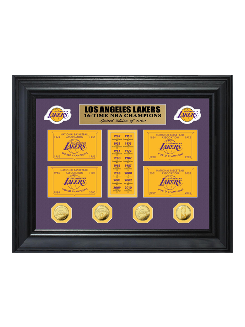 Los Angeles Lakers 16x Champs Deluxe Gold Coin Banner Frame