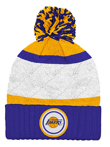 Los Angeles Lakers Quilted Crown Stripe Hi Five Cuffed Knit Pom