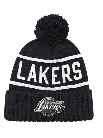 Los Angeles Lakers Reflective Patch Hi Five Cuffed Knit Pom
