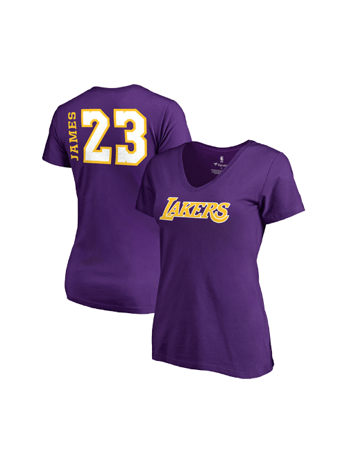 Los Angeles Lakers LeBron James Women's Side Sweep Player V-Neck - Purple