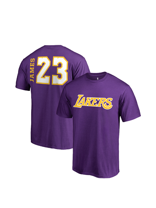 Los Angeles Lakers LeBron James Side Sweep Player T-Shirt - Purple