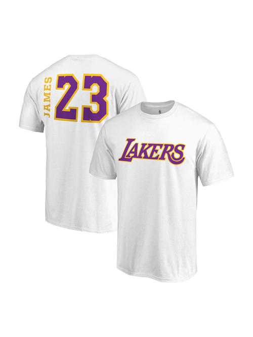 b76b6a9bedf Los Angeles Lakers LeBron James Side Sweep Player T-Shirt - White