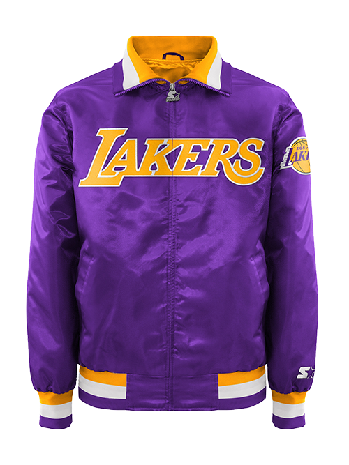 Los Angeles Lakers Three Stripe Button Snap Varsity Jacket