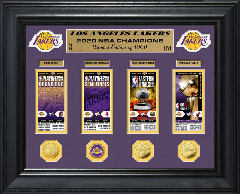 Los Angeles Lakers 2020 NBA Champions Deluxe Gold Coin & Ticket Collection