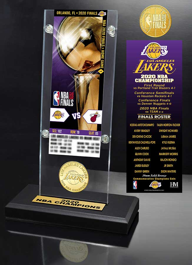 Los Angeles Lakers 2020 NBA Champions Ticket & Bronze Coin Acrylic Desk Top