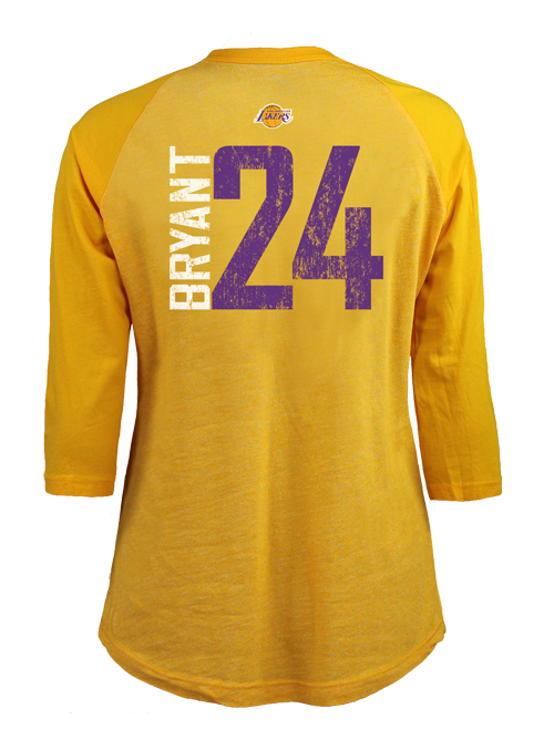 Los Angeles Lakers Women s Kobe Bryant Triblend Raglan T-Shirt - Gold ee94e4f25e
