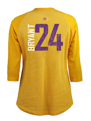 Los Angeles Lakers Women's Kobe Bryant Triblend Raglan T-Shirt - Gold